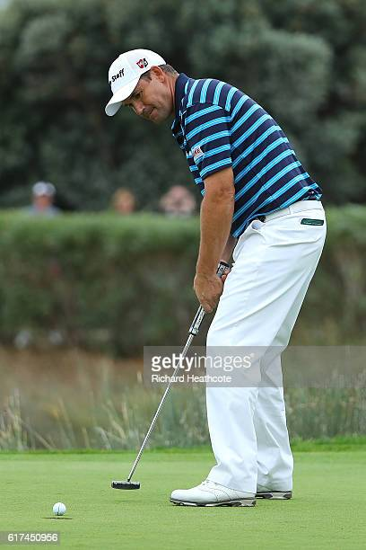 Padraig Harrington of Ireland putts for victory on the 18th green during day four of the Portugal Masters at Victoria Clube de Golfe on October 23...