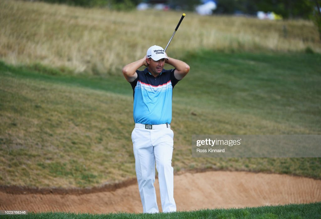 Padraig Harrington of Ireland reacts as he play his fourth shot on the 10th hole during day four and final round of the the D+D REAL Czech Masters at Albatross Golf Resort on August 26, 2018 in Prague, Czech Republic.