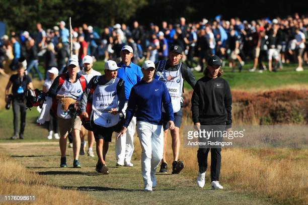Padraig Harrington of Ireland, Rory McIlroy of Northern Ireland and Tommy Fleetwood of England during Day Three of the BMW PGA Championship at...