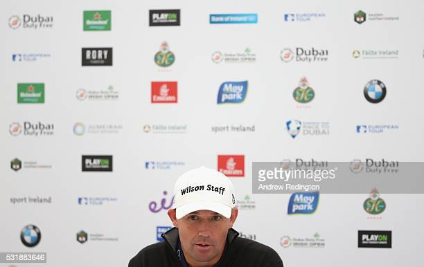 Padraig Harrington of Ireland speaks to the media during a press conference atr the Dubai Duty Free Irish Open Hosted by the Rory Foundation at The K...