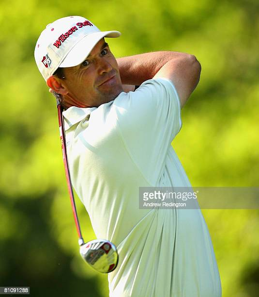 Padraig Harrington of Ireland tees off on the 14th hole during the first round of the Irish Open on May 15 2008 at the Adare Manor Hotel and Golf...