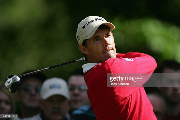 Padraig Harrington of Ireland tees off on the par four 14th hole during the final round of the Irish Open on May 20 2007 at the Adare Manor Hotel and...