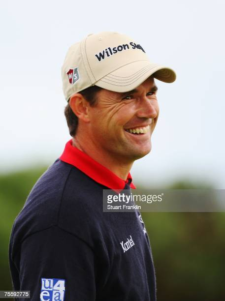 Padraig Harrington of Ireland walks off a green during the final round of The 136th Open Championship at the Carnoustie Golf Club on July 22, 2007 in...