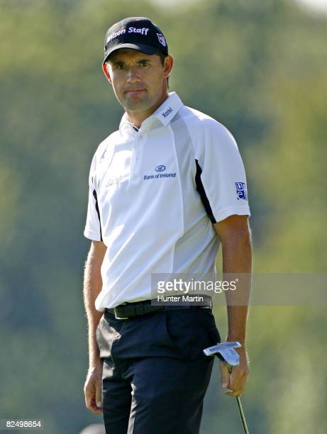 Padraig Harrington of Ireland watches his birdie putt on the 12th hole during the first round of The Barclays at Ridgewood Country Club on August 21...