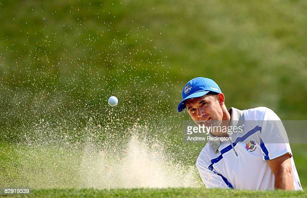 Padraig Harrington of the European team plays plays a bunker shot during the morning foursomes on day one of the 2008 Ryder Cup at Valhalla Golf Club...