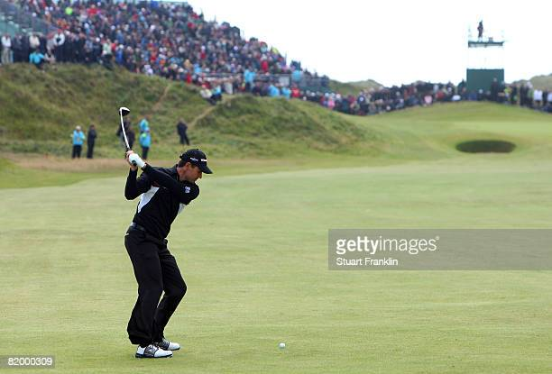 Padraig Harrington of the Republic of Ireland plays an approach shot to the 6th during the third round of the 137th Open Championship on July 19,...