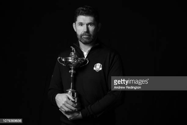 Padraig Harrington of the Republic of Ireland poses with the Ryder Cup trophy as he is announced as the European Ryder Cup Captain for 2020 during...