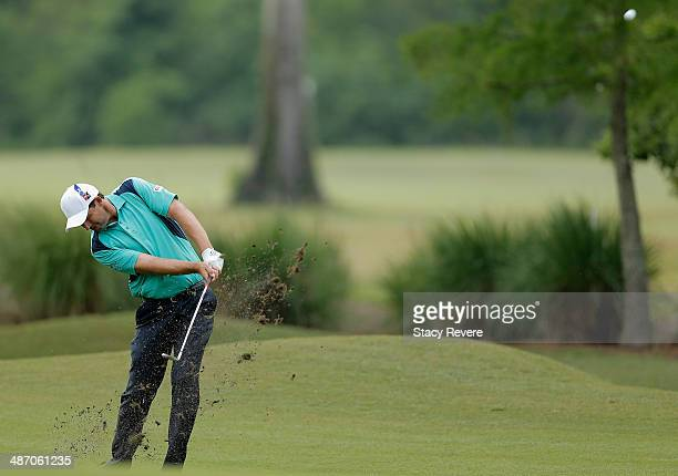 Padraig Harrington plays a shot on the 1st during the Final Round of the Zurich Classic of New Orleans at TPC Louisiana on April 27 2014 in Avondale...