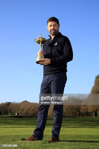 Padraig Harrington pose for a photo as he is named European Ryder Cup Captain for 2020 during a press conference at Wentworth on January 08 2019 in...