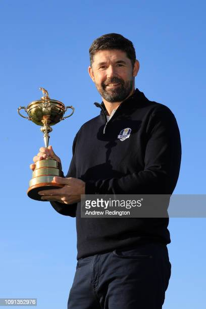 Padraig Harrington pose for a photo as he is named European Ryder Cup Captain for 2020 during a press conference at Wentworth on January 08, 2019 in...