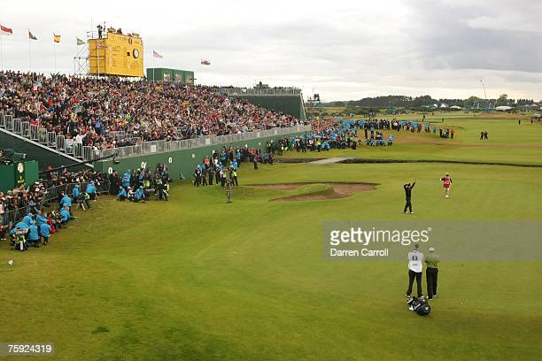 Padraig Harrington reacts to his playoff victory at the eighteenth green during the fourth round of the 136th Open Championship in Carnoustie...