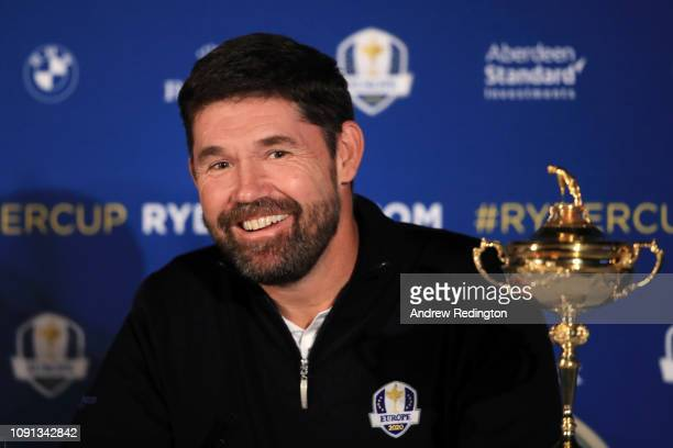 Padraig Harrington reacts when he speaks to the media as he is named European Ryder Cup Captain for 2020 during a press conference at Wentworth on...