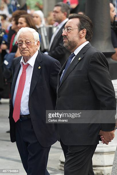 Padre Angel and ONCE President Miguel Carballeda attend the Principe de Asturias Awards 2014 ceremony at the Campoamor Theater on October 24 2014 in...