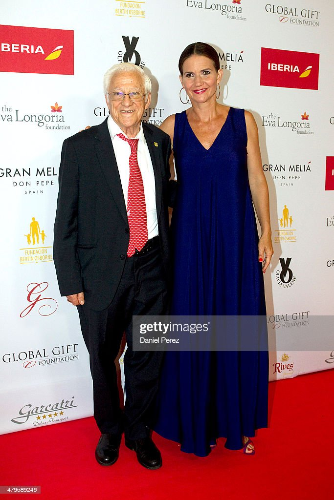 Padre Angel (L) and Samantha Vallejo-Nagera attend the Global Gift Gala 2015 red carpet at Gran Melia Don pepe Resort on July 5, 2015 in Marbella, Spain.