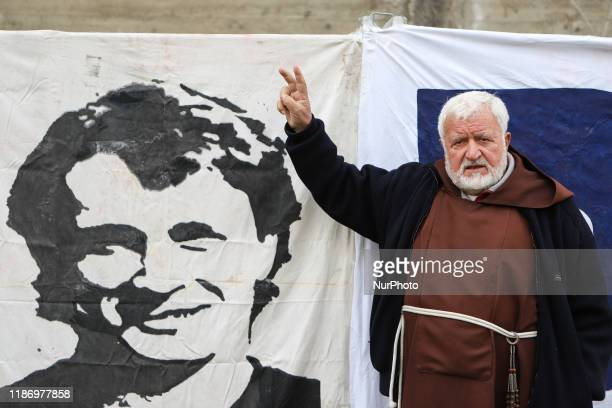 Padre Fedele Bisceglia a famous soccer ultras outside the court of Cosenza during the protest quottruth for Denis Bergaminiquot in Cosenza Italy on...