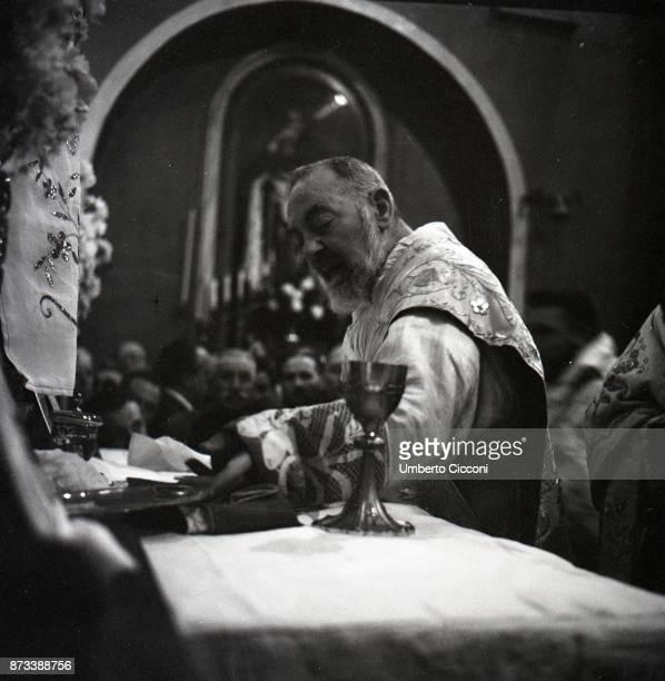 Padre Pio celebrates Easter Mass at the Sanctuary of Saint Pio of Pietrelcina 1957