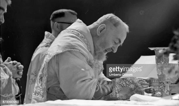 Padre Pio celebrates the mass at the Sanctuary of Saint Pio of Pietrelcina 1966