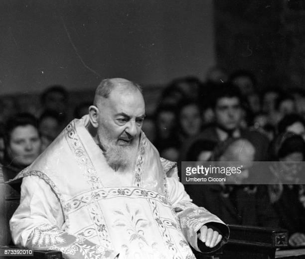 Padre Pio during the mass at the Sanctuary of Saint Pio of Pietrelcina 1966