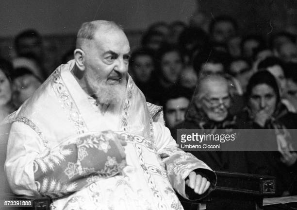 Padre Pio during the mass at the Sanctuary of Saint Pio of Pietrelcina in 1966