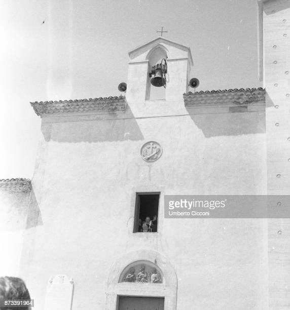 Padre Pio looks through a window of the Sanctuary of Saint Pio of Pietrelcina San Giovanni Rotondo 1966