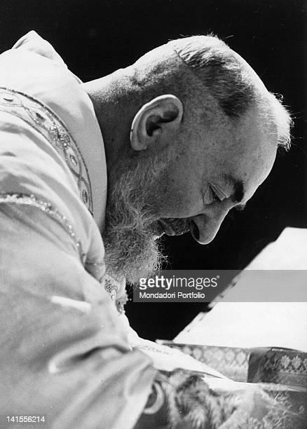 Padre Pio of Pietrelcina celebrating Mass San Giovanni Rotondo May1966