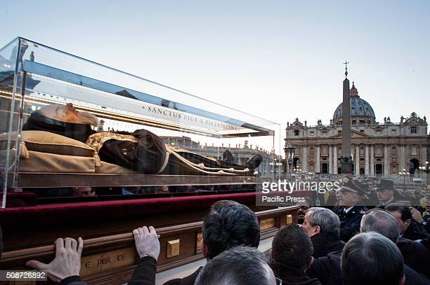 Padre Pio's remains are welcomed in San Pietro and will remain there for the pilgrims until the 11th
