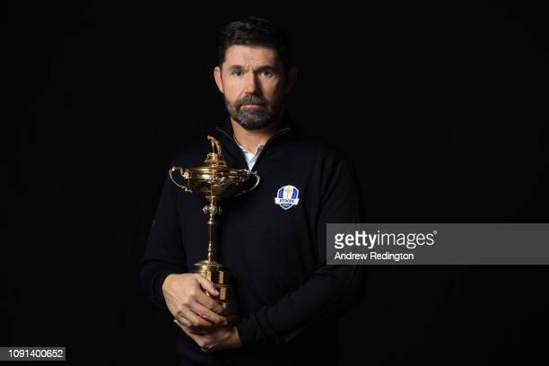 Padriaig Harrington poses with the Ryder Cup trophy after being named as European Ryder Cup Captain for 2020 on January 07, 2019 in Ascot, England.