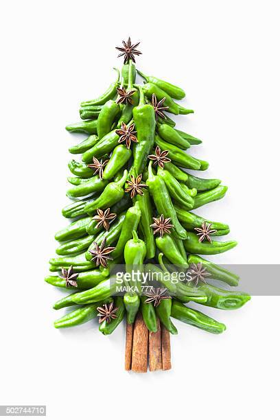 Padron peppers (Capsicum annuum), seed of star anise and cinnamon sticks shape of a Christmas tree.
