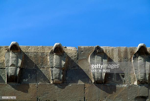 Pads cobra shape Funerary Complex of Djoser with the step pyramid in the background Saqqara Memphis Egyptian civilisation Old Kingdom Dynasty III...