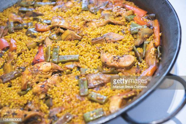 paella close up - benicassim stock pictures, royalty-free photos & images