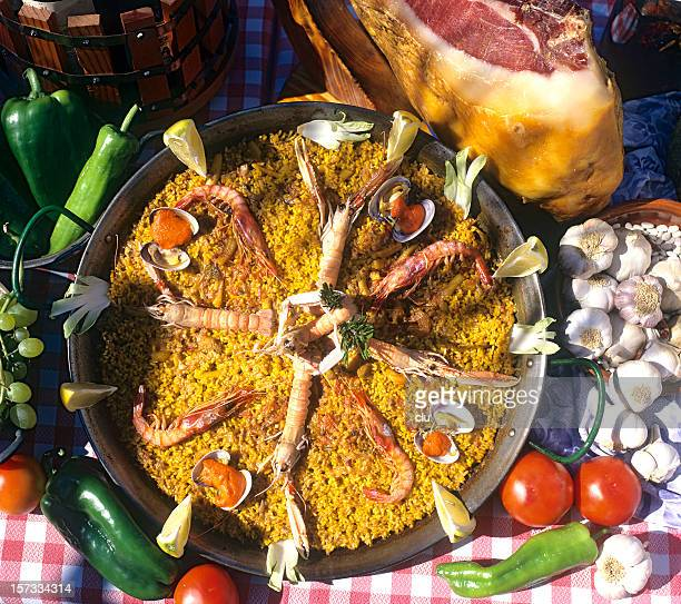 Paella plate shot outdoor from above