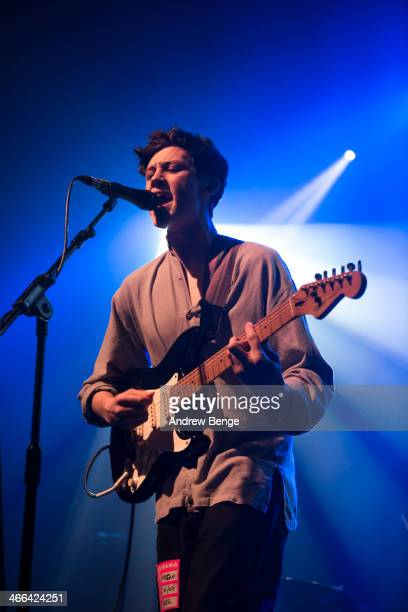 Paeris Giles of The Magic Gang performs on stage at The Fly Awards Tour at The Ritz Manchester on February 1 2014 in Manchester United Kingdom