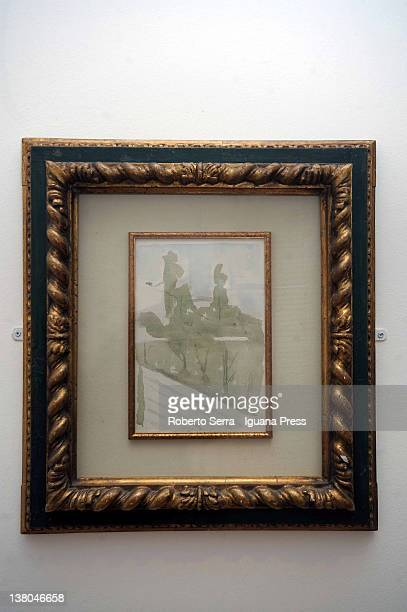 "Paesaggio"" watercolour in 1958"" by italian painter Giorgio Morandi lends by Cristina and Giuliana Pavarotti to Morandi Museum on February 1, 2012 in..."