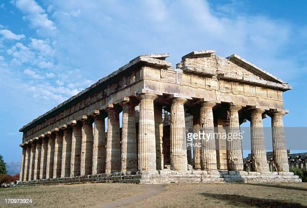 Paestum Temple of Poseidon 5th century BC Northwest side Italy