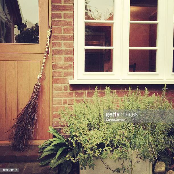 pagan besom broom - magic doors stock pictures, royalty-free photos & images