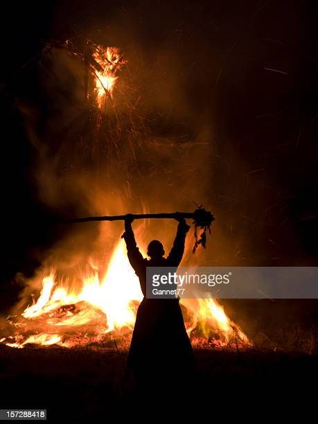 pagan blessing at a wickerman festival - wickerman festival stock pictures, royalty-free photos & images