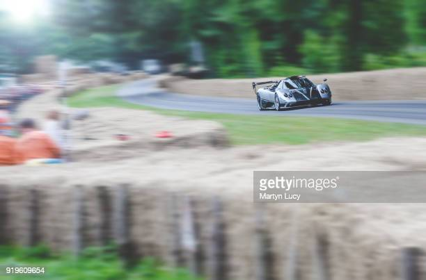 Pagani Zonda Oliver Evolution is driven on the hill climb during the Goodwood Festival of Speed at Goodwood on July 1 2017 in Chichester England