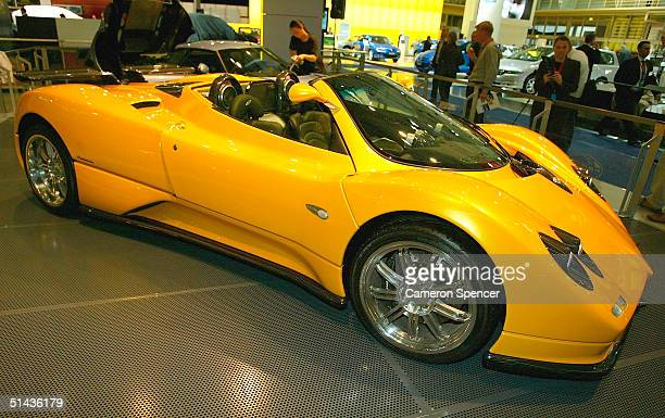 Pagani Zonda Roadster on display during the Australian International Motorshow at the Darling Harbour Convention Centre October 7 2004 in Sydney...