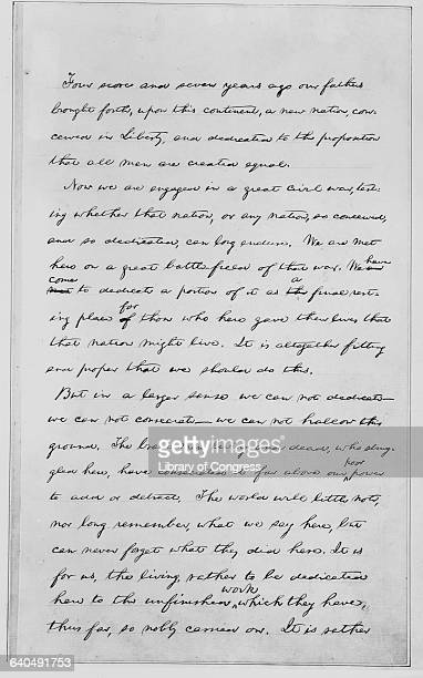 Page 1 of the second draft of Abraham Lincoln's Gettysburg Address Delivered at the dedication ceremony for the Civil War Cemetery at Gettysburg...