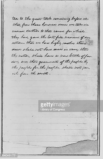 Page 2 of the first draft of Lincoln's Gettysburg Address Delivered at the dedication of the Civil War Cemetery in Gettysburg Pennsylvania November...