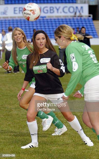 Page 3 girls Lucy Pinder in action at the annual Music Industry Soccer Six fundraising tournament on May 23 2004 at the Madejski Stadium in Reading...