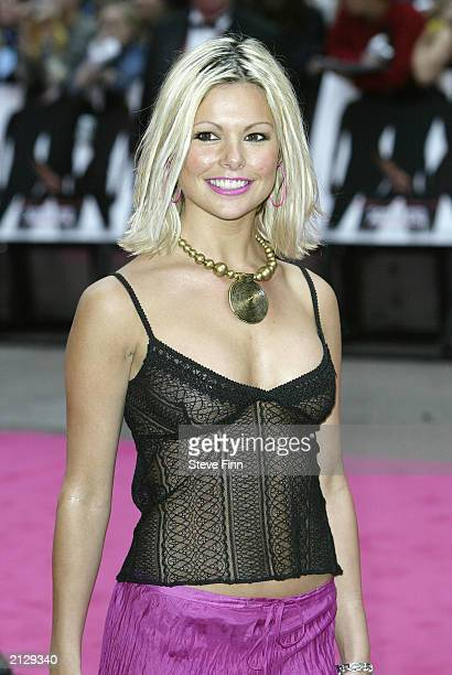 Page 3 model Jakki Degg arrives at the premiere of Charlies Angels Full Throttle at the Odeon Cinema Leicester Square on July 1 2003 in London