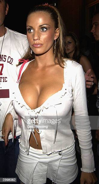 Page 3 Model Jordan is seen leaving nightclub 'China White' with her friends Jennifer Ellison actor Dean Gaffney on August 13 2003 in London England