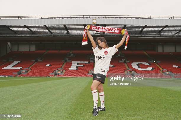 Page 3 Model Kathy Lloyd models the new Reebok Liverpool away strip ahead of the 1996/97 season at Anfield on July 8 1996 in Liverpool England