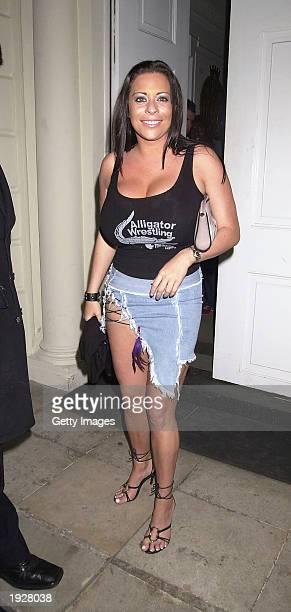 Page 3 model Lindsey Dawn Mckenzie leaves Sketch nightclub on April 12, 2003 in London. .