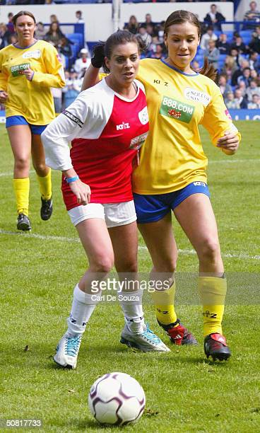 """Page 3 Model Linzie Dawn McKenzie and Liberty X's Jessica play at annual """"Music Industry Soccer Six"""" fundraising tournament at Everton's Goodison..."""