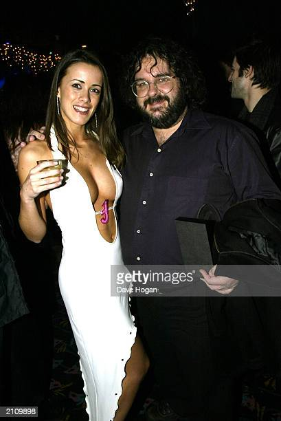 Page 3 model Nicola T from Croydon meets Peter Jackson director of Lord of the Rings at the Two Towers party held on December 12 2002 in the Equinox...