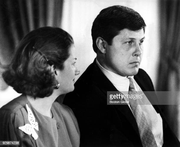 Page and John Hannah speak during his press conference announcing his retirement at the Omni Parker House in Boston July 30 1986