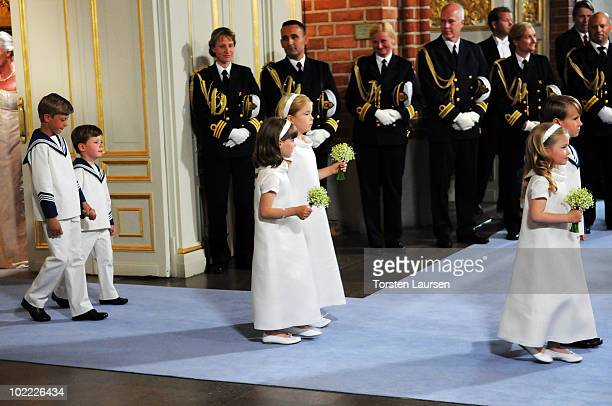 Page Boys Ian De Geer, Prince Christian, flower girls Princess Ingrid Alexandra, Princess Catharina-Amalia, Vera Blom and Leopold Sommerlath attend...