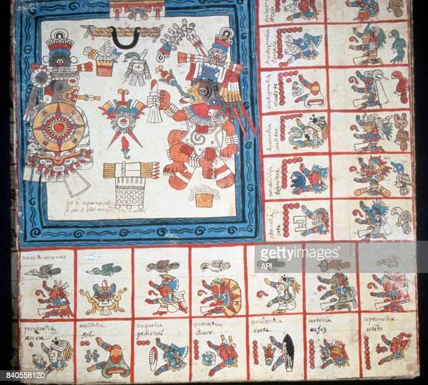 Page du calendrier aztèque extrait du Codex Borbonicus